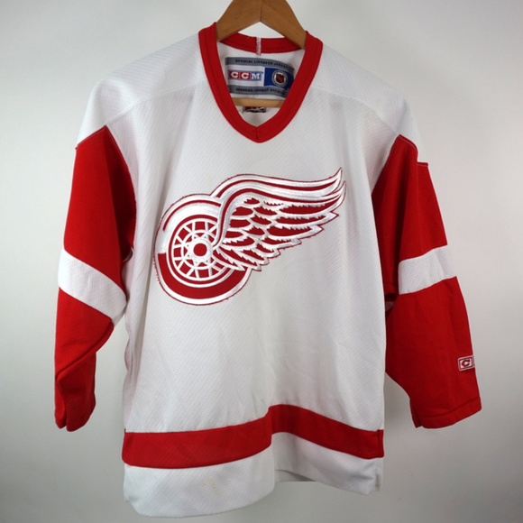 sports shoes f075d db81a CCM NHL Detroit Red Wings Jersey Youth L/XL White
